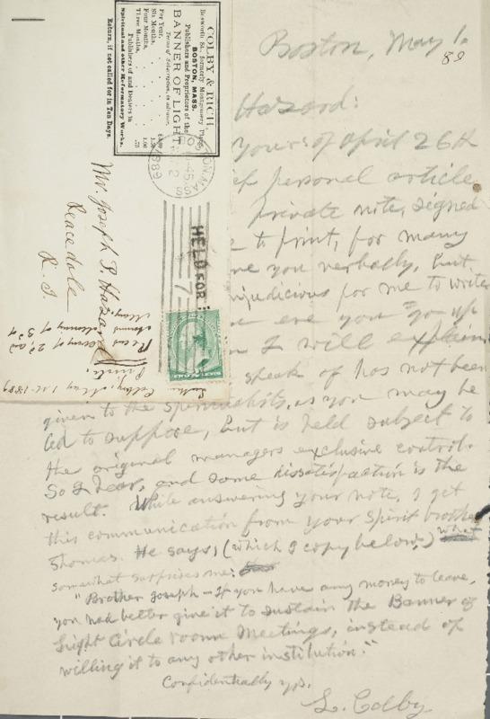 Letter to Joseph Peace Hazard, 1889-05-01