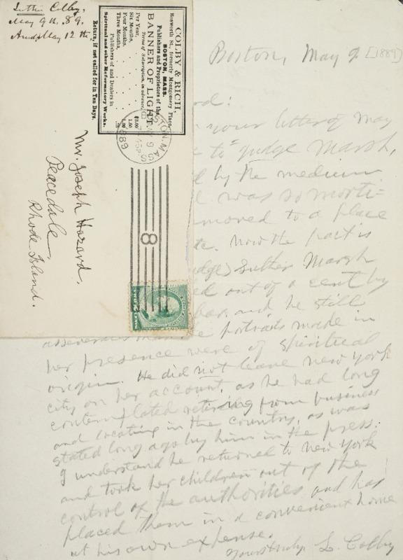 Letter to Joseph Peace Hazard, 1889-05-09
