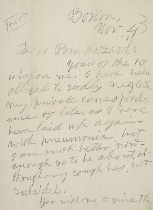 Letter to Joseph Peace Hazard, 1889-11-04