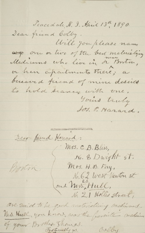 Letter to Luther Colby, with Reply to Joseph Peace Hazard, 1890-04-13