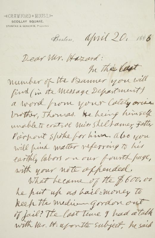 Letter to Joseph Peace Hazard, 1886-04-20