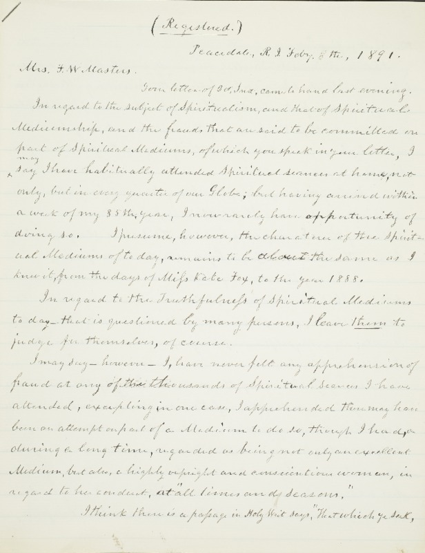 Letter to Mrs. F.W. Masters, 1891-02-08