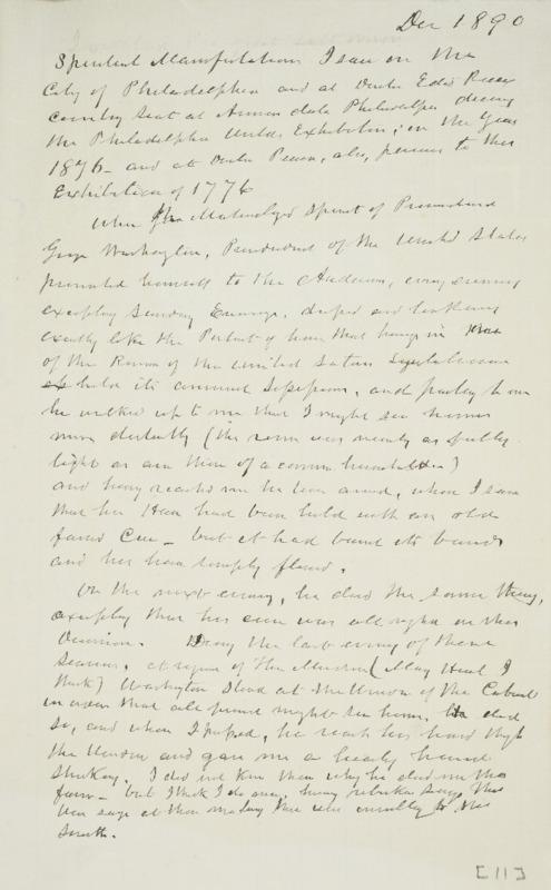 Notes on Spirit of George Washington, 1890-12
