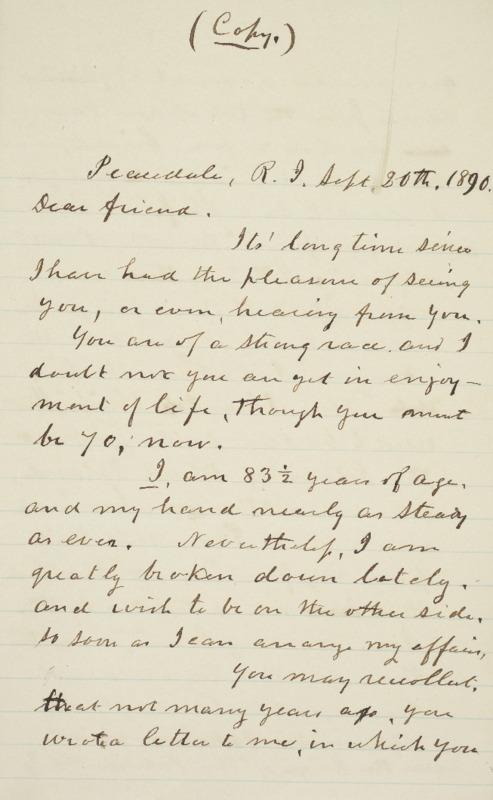 Letter to Henry Bede, 1890-09-20