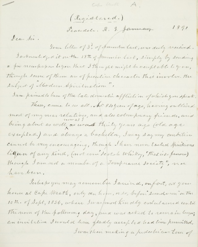 Letter to Sir, 1891-01