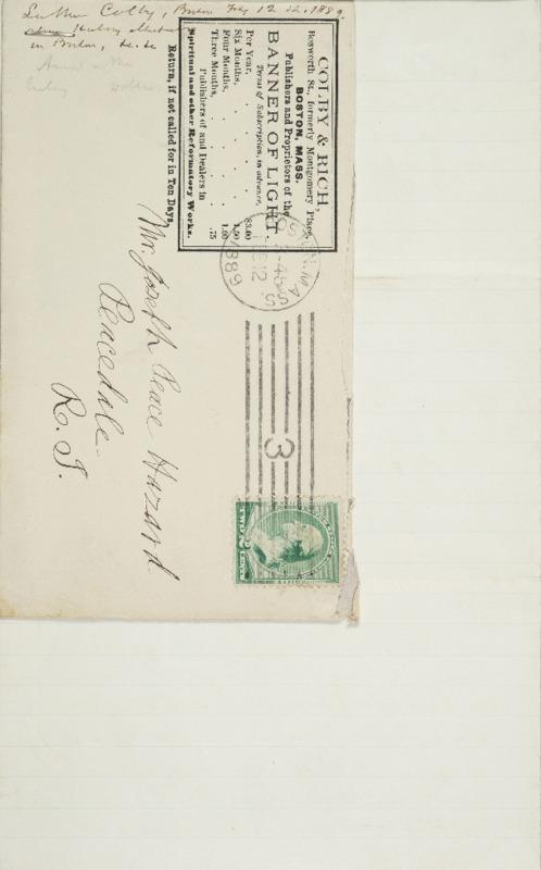 Letter to Joseph Peace Hazard, 1889-02-12